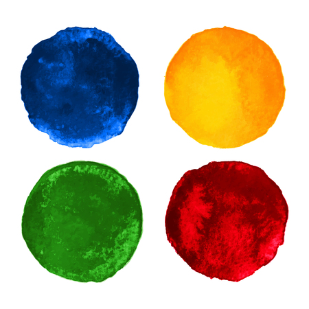 wet paint: Set of Colorful watercolor circular backgrounds Illustration
