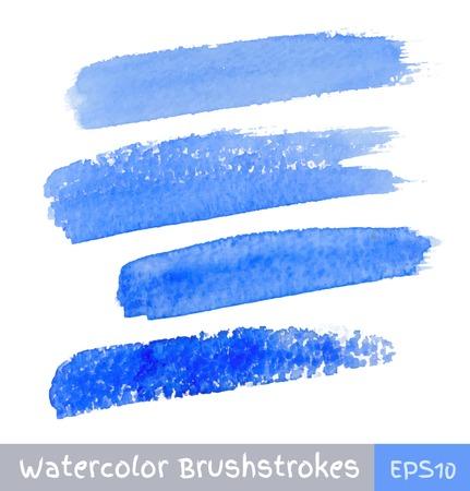 Conjunto de trazos de pincel acuarela azul