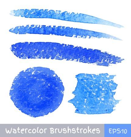 Ensemble de Strokes Bleu pinceau à aquarelle