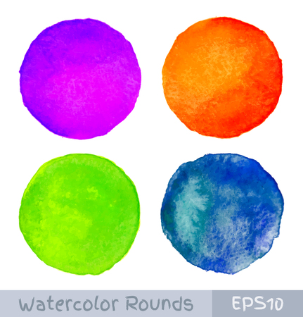 circle pattern: Set of Colorful watercolor circular backgrounds, Illustration
