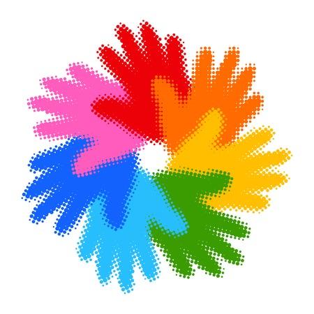 solidaridad: Medios tonos icono Imprimir Mano colorida