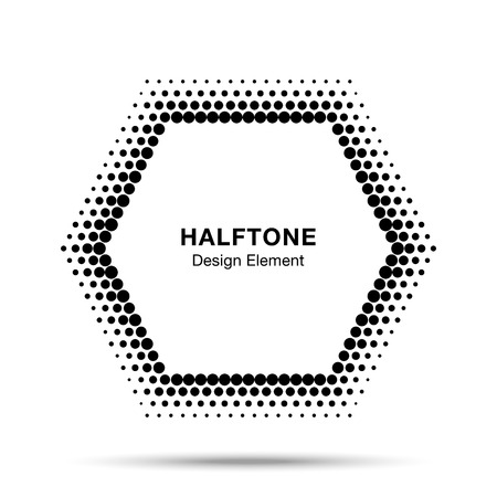 halftone dots: Black Abstract Halftone Design Element