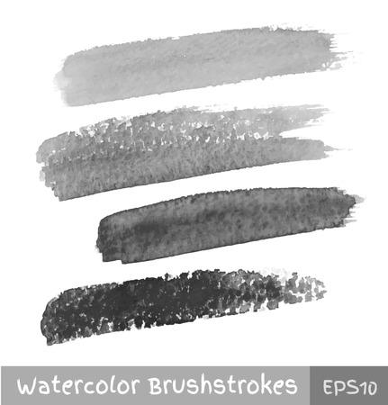 Set of Gray Watercolor Brush Strokes Vector