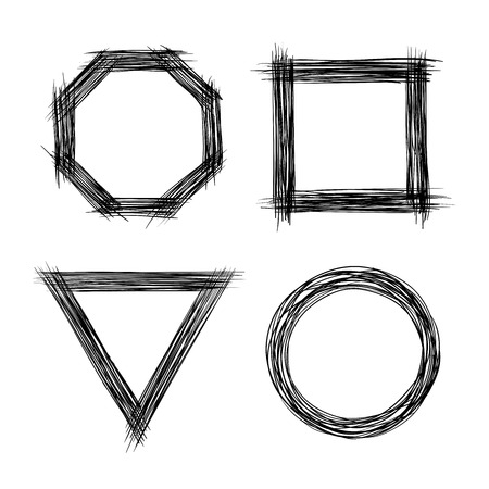 Set of Hand Drawn Scribble Shapes 向量圖像