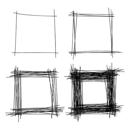 pencil drawn: Set of Hand Drawn Scribble Squares Illustration