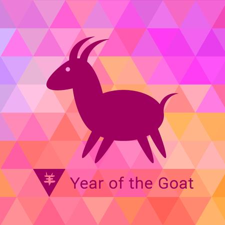 fondo geometrico: Icono de cabra en el fondo geom�trico brillante.