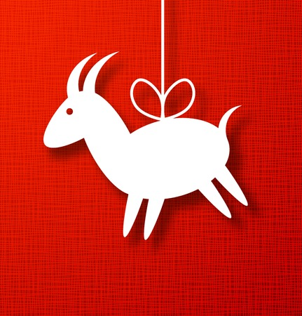 Goat Paper Applique on Bright Red Canvas Background. 2015 - Chinese New Year of the Goat. Vector