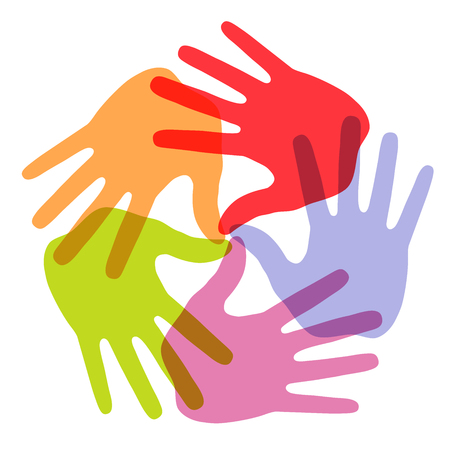 Hand Print icon 5 colors Vector