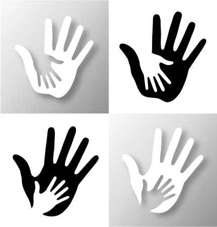 Set of Caring hands. 矢量图像