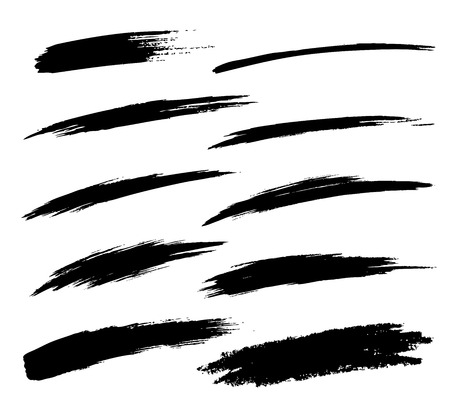 Set of Hand Drawn Grunge Brush Smears  イラスト・ベクター素材