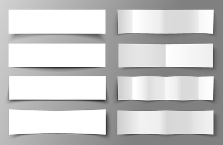 Set of 8 Paper Banners with shadows Vector