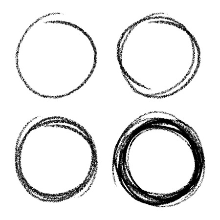 Set of Hand Drawn Scribble Circles  イラスト・ベクター素材