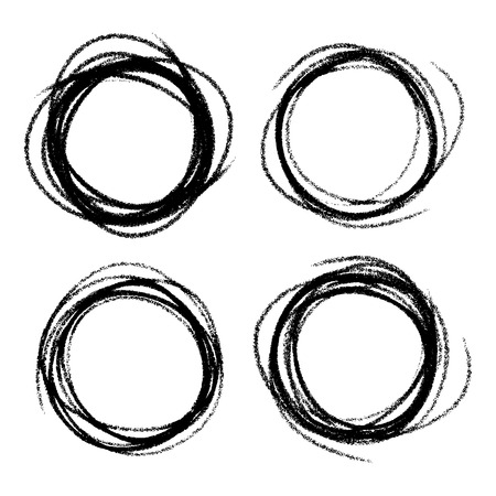 weave ball: Set of Hand Drawn Scribble Circles Illustration