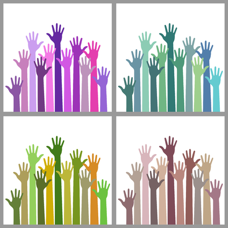 raise the thumb: Set of colorful up hands