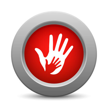 caring hands: Caring hands red button