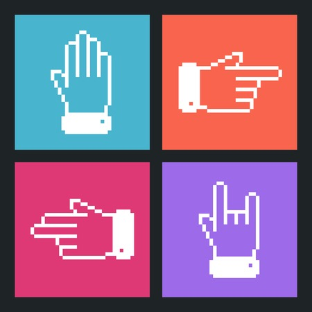 Modern Pixel Hand Flat icons for Web and Mobile Applications. Vector