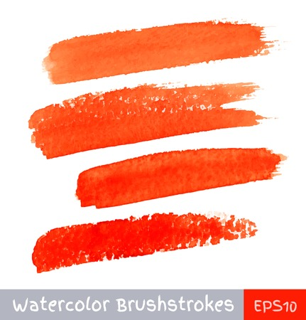 Set of Red Watercolor Brush Strokes Illustration