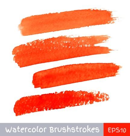 swipe: Set of Red Watercolor Brush Strokes Illustration