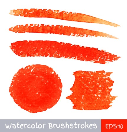 colorful paint: Set of Red Watercolor Brush Strokes Illustration