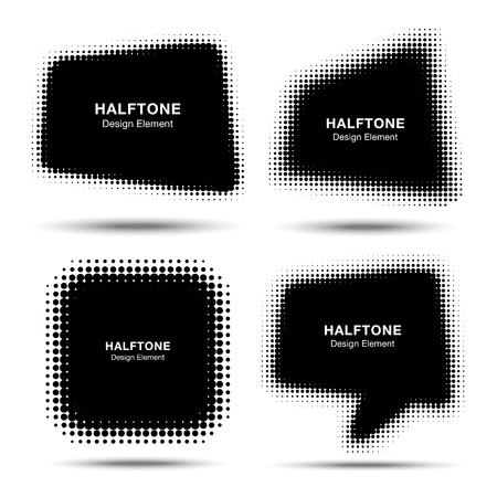 halftone pattern: Set of Abstract Halftone Design Elements