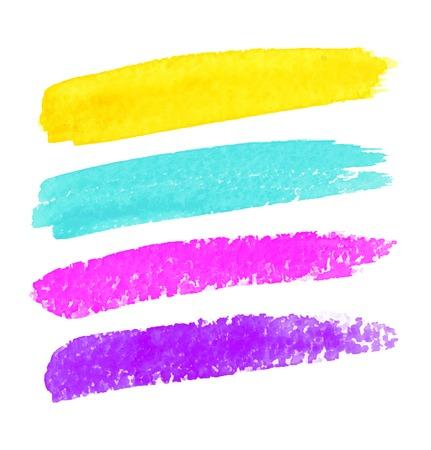 Set van kleurrijke aquarel penseelstreken Stock Illustratie