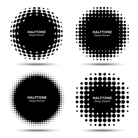 round dot: Set of Abstract Halftone Design Elements
