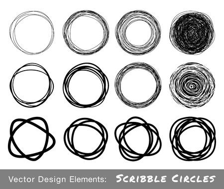 Set of Hand Drawn Scribble Circles 일러스트