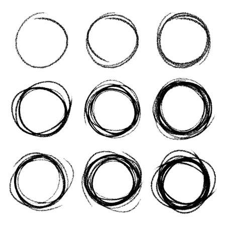 ring light: Set of Hand Drawn Scribble Circles Illustration