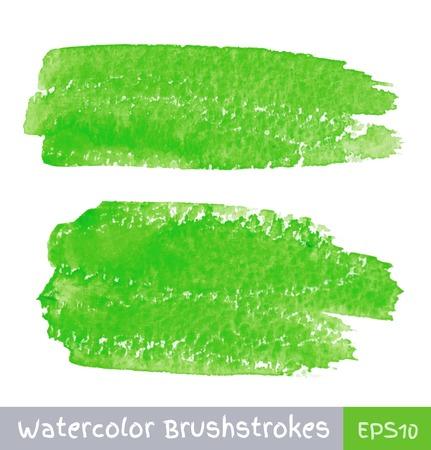 Green Watercolor Brush Strokes Vector