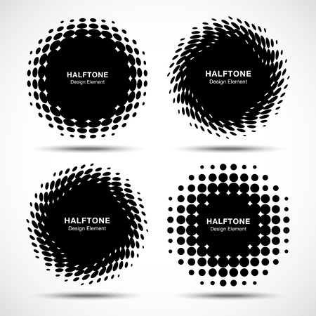 circle pattern: Set of Abstract Halftone Design Elements