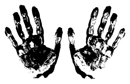 Two Black Art Hand Prints Vector