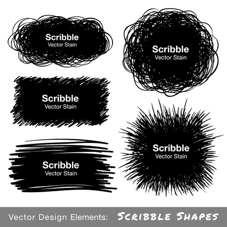 Set of Hand Drawn Scribble Shapes Vettoriali