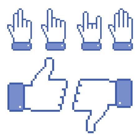 Set of Pixel Hand icons Vector