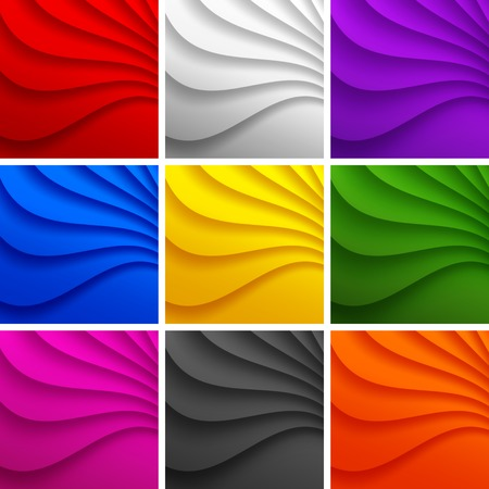 Set of 9 Colorful Wavy backgrounds. Vector