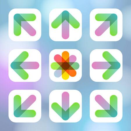 Colorful Arrow Icon Flat Menu. Vector illustration. Vector