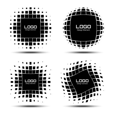 Set of Abstract Halftone icon Design Elements