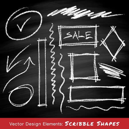 Scribble shapes hand drawn in chalk on chalkboard background Vettoriali