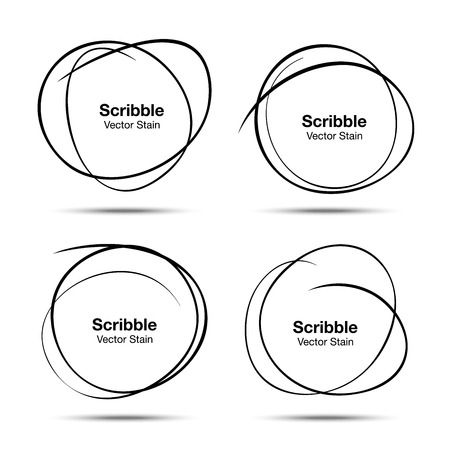 Set of Hand Drawn Scribble Circles Vector