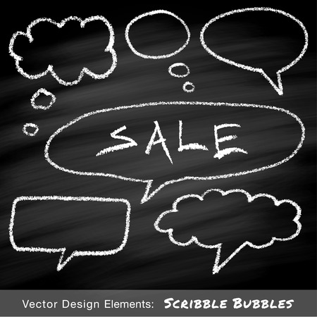 Scribble speech and thought bubbles hand drawn in chalk on blackboard.  Vector