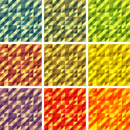 Set Colorful 9 Bright Geometric Backgrounds. Vector