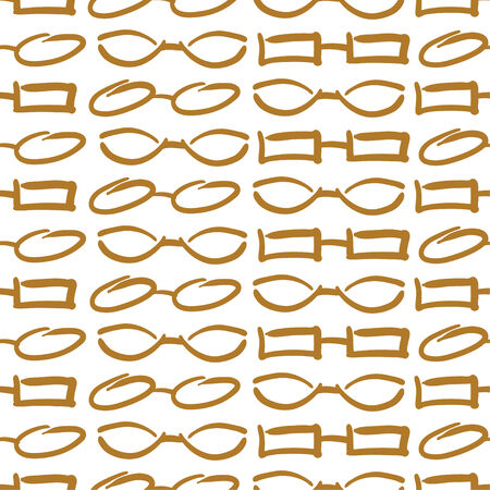 perforating: Glasses and Sunglasses Gold Seamless Pattern. Illustration
