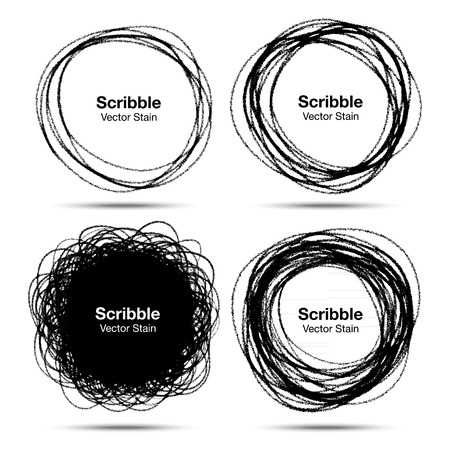 Set of Hand Drawn in Pencil Scribble Circles 일러스트