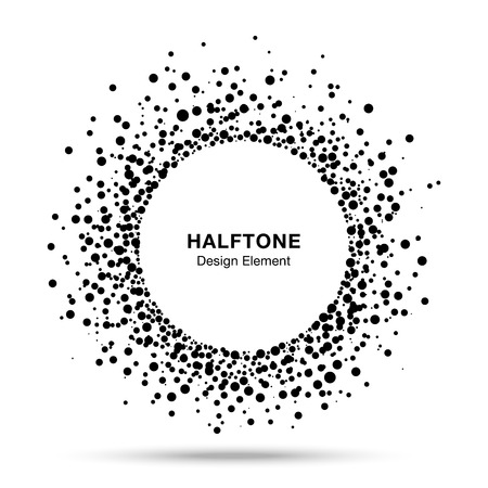 halftone dots: Black Abstract Halftone Logo Design Element