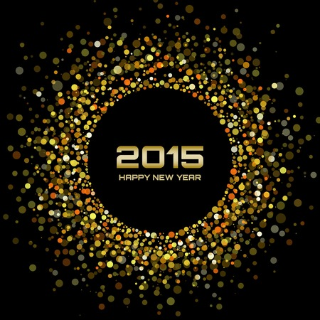 fiestas electronicas: Oro brillante a�o nuevo 2015 de fondo Vectores