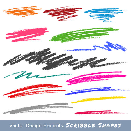 Colorful Scribble Smears Hand Drawn in Pencil 일러스트