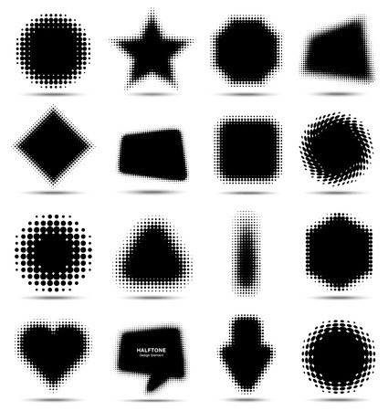 Set of 16 Abstract Halftone Design Elements