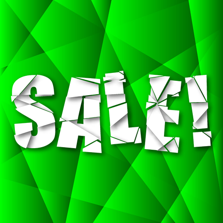 cut in paper: Sale Cut Paper Poster on green background