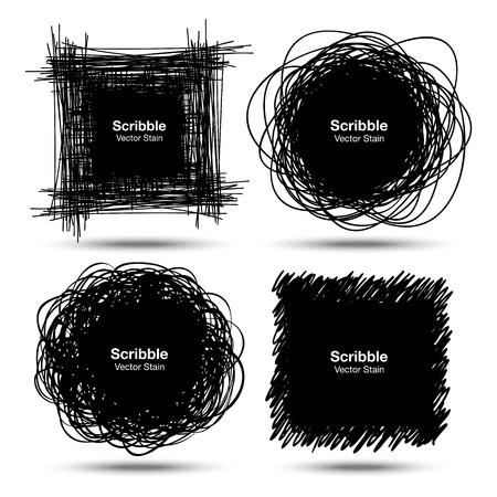 circle shape: Set of Hand Drawn Scribble Shapes Illustration