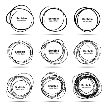 Set of 9 Hand Drawn Scribble Circles Vettoriali