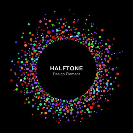 inkblot: Colorful Bright Abstract Halftone Logo Design Element on Black Background Illustration